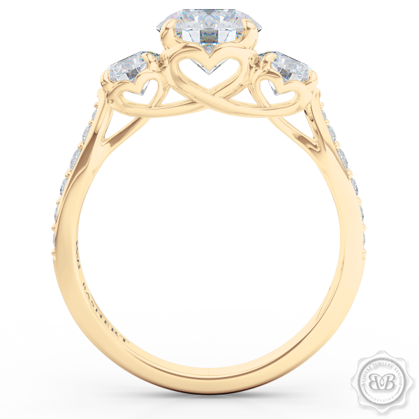 Three-Stone Open Hearts Engagement Ring. Handcrafted in Classic Yellow Gold. GIA Certified Diamond. Celebrate Your Past-Present-Future with our Award-Winning Design.  Free Shipping USA.  30Day Returns | BASHERT JEWELRY | Boca Raton Florida
