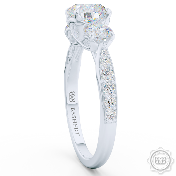 Three-Stone Open Hearts Engagement Ring. Handcrafted in White Gold or Precious Platinum. GIA Certified Diamond. Celebrate Your Past-Present-Future with our Award-Winning Design.  Free Shipping USA.  30Day Returns | BASHERT JEWELRY | Boca Raton Florida