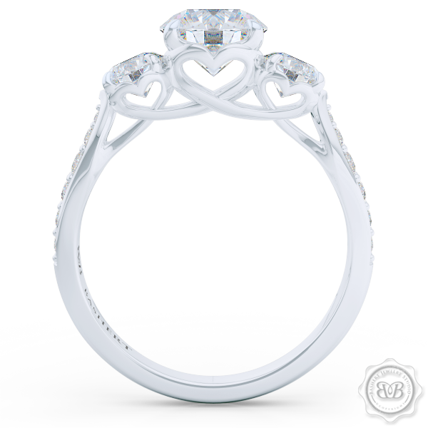 Classic Lines and Mesmerizing Design. Three-Stone Open Hearts Engagement Ring. Handcrafted in White Gold or Precious Platinum. GIA Certified Diamonds, Tailored to Your Budget. Celebrate Your Past-Present-Future with This Award-Winning Design. Free Shipping USA.  30Day Returns | BASHERT JEWELRY | Boca Raton Florida