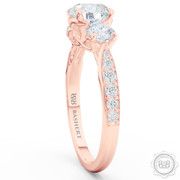 Three-Stone Open Hearts Engagement Ring. Handcrafted in Romantic Rose Gold. GIA Certified Diamond. Celebrate Your Past-Present-Future with our Award-Winning Design.  Free Shipping USA.  30Day Returns | BASHERT JEWELRY | Boca Raton Florida
