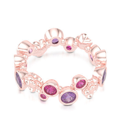 Floral Fashion Band Handcrafted in Romantic Rose Gold and adorned with Genuine Lilac Amethysts and Raspberry Rhodolite Garnets. Customize it with Birthstone Gems of Your Choice. Free Shipping USA. 30Day Returns. BASHERT JEWELRY | Boca Raton, Florida