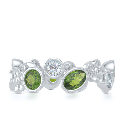 Floral Fashion Band Handcrafted in Bright White Gold or Platinum and adorned with Genuine Green Peridot and Diamonds. Customize it with Birthstone Gems of Your Choice. Free Shipping USA. 30Day Returns. BASHERT JEWELRY | Boca Raton, Florida