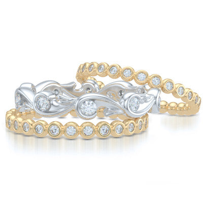 Rose-Vine Inspired, Three-Row Eternity Diamond Band. Elegantly Crafted in Two-Tone Yellow Gold and White Gold, Encrusted with Round Brilliant Diamonds. Free Shipping for All USA Orders. 30Day Returns | BASHERT JEWELRY | Boca Raton, Florida