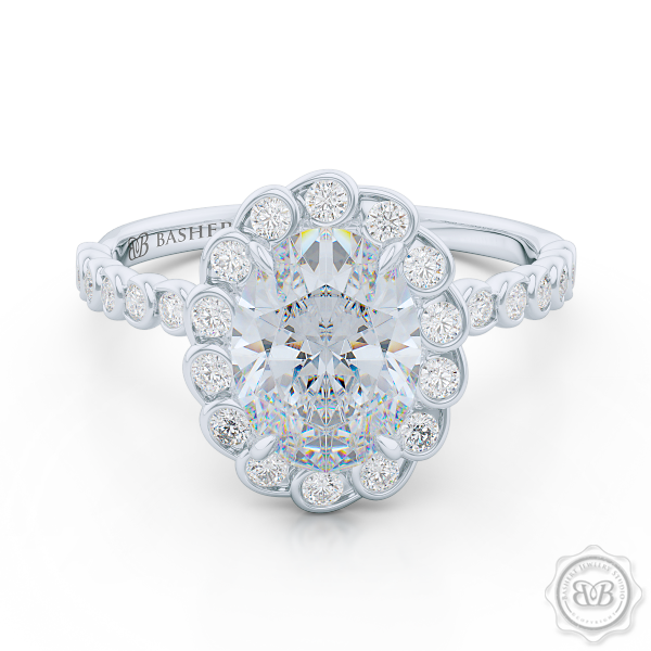 Luscious Oval Cut FOREVER ONE Moissanite Halo Engagement Ring, Crafted in White Gold or Platinum. Stunning Halo Crown of Bezel-Set Diamonds Encrusted in Elegant Ocean Swirls. Free Shipping USA. 30-Day Returns | BASHERT JEWELRY | Boca Raton, Florida