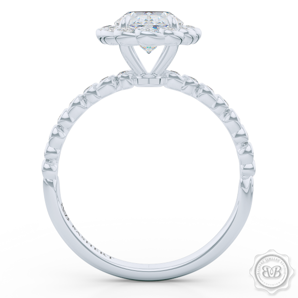 Luscious Oval Cut Diamond Halo Engagement Ring, Crafted in White Gold or Platinum. Stunning Halo Crown of Bezel-Set Diamonds Encrusted in Elegant Ocean Swirls. Free Shipping USA. 30Day Returns | BASHERT JEWELRY | Boca Raton Florida