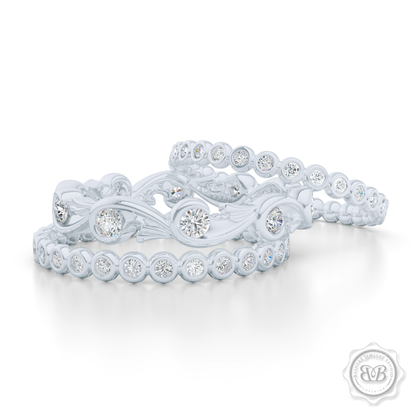 Rose Vine Inspired, Three-Row Eternity Diamond Band. Elegant, Feminine Lines Gently Hugging Round Diamonds. Precious Platinum or White Gold. Free Shipping for All USA Orders. 30Day Returns | BASHERT JEWELRY | Boca Raton Florida