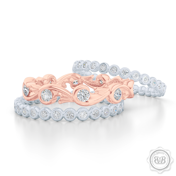Rose-Vine Inspired, Three-Row Eternity Diamond Band. Elegantly Crafted in Two-Tone Rose Gold and White Gold, Encrusted with Round Brilliant Diamonds. Free Shipping for All USA Orders. 30Day Returns | BASHERT JEWELRY | Boca Raton, Florida