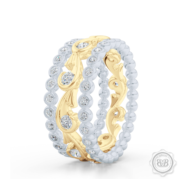 Rose Vine Inspired, Two-Toned Diamond Eternity Band. Elegant, Feminine Lines Gently Hugging Round Diamonds. Classic Yellow Gold and White Gold. Free Shipping for All USA Orders. 30Day Returns | BASHERT JEWELRY | Boca Raton Florida