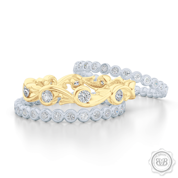 Rose-Vine Motif Eternity Diamond Wedding Band. Handcrafted in Classic Yellow Gold, and adorned with Round Brilliant  Diamonds. Free Shipping for All USA Orders. 30Day Returns | BASHERT JEWELRY | Boca Raton, Florida