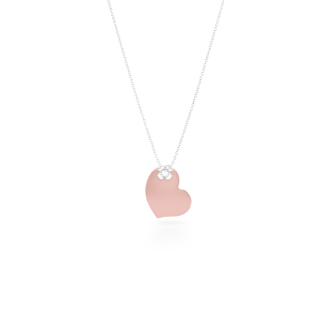 Two-tone gold Heart Pendant Necklace. Hand-fabricated in Rose and White Gold. Luck-clover flower accent. Free Shipping to all USA. 15 Day Returns.  BASHERT JEWELRY | Boca Raton, Florida