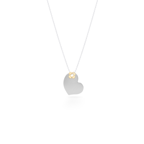 Two-tone gold Heart Pendant Necklace. Hand-fabricated in White and Yellow solid Gold. Lucky-clover-flower accent. Free Shipping to all USA. 15 Day Returns.  BASHERT JEWELRY | Boca Raton, Florida