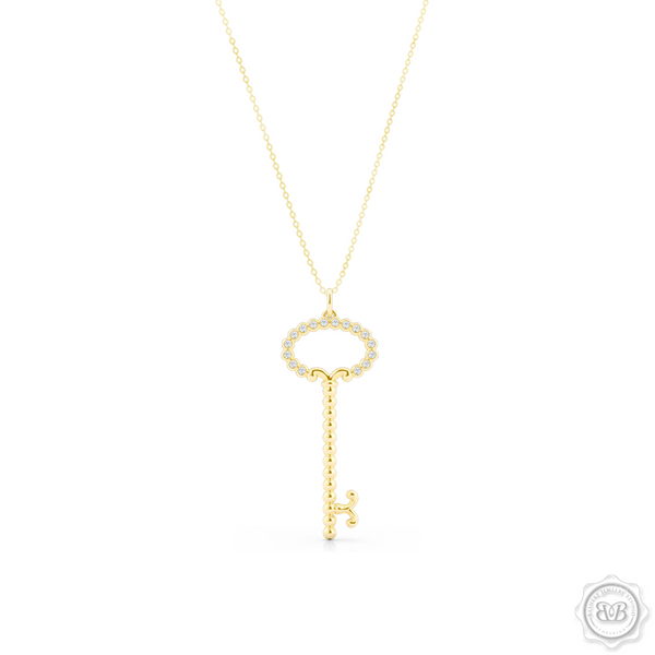 Delicate, Girly Key Pendant Necklace Handcrafted in Classic Yellow Gold. This design is adorned with Round Brilliant Diamonds.  Available in two sizes. Free Shipping USA. 30 Day Returns. Free Silver Chain Option | BASHERT JEWELRY | Boca Raton, Florida