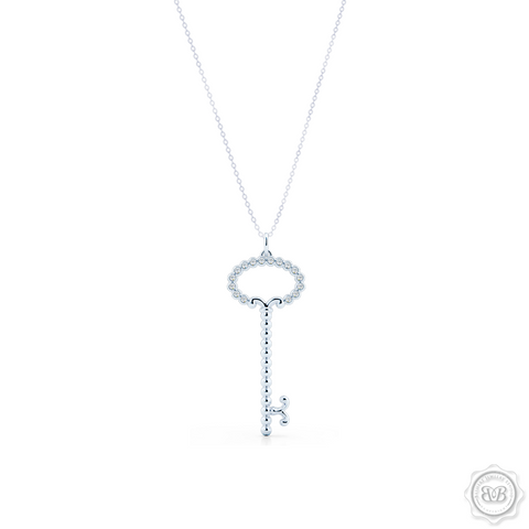 Delicate, Girly Key Pendant Necklace Handcrafted in Sterling Silver or White Gold. This design is adorned with Round Brilliant Diamonds.  Available in two sizes. Free Shipping USA. 30 Day Returns. Free Silver Chain Option | BASHERT JEWELRY | Boca Raton, Florida
