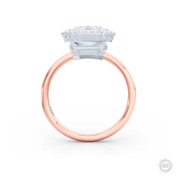 Decadent Emerald-cut Diamond Halo Engagement Ring. Crafted in two-tone Rose Gold and Platinum. GIA certified Diamond. Streamlined appeal with a bold, modern look.  Free Shipping USA. 30-Day Returns | BASHERT JEWELRY | Boca Raton, Florida.