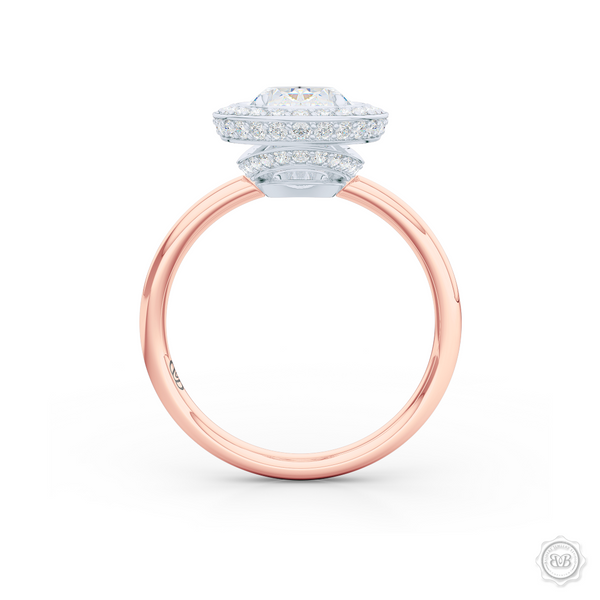 Luscious Oval-cut Diamond Halo Engagement Ring. Crafted in two-tone Rose Gold and Platinum. GIA certified Diamond. Streamlined appeal with a bold, modern look.  Free Shipping USA. 30-Day Returns | BASHERT JEWELRY | Boca Raton, Florida.