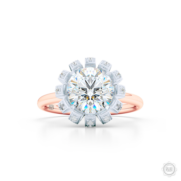 Decadent Round Brilliant Diamond Halo. Crafted in two-tone Rose Gold and Platinum. GIA certified Diamond. Streamlined appeal with bold modern look. Free Shipping USA. 30-Day Returns | BASHERT JEWELRY | Boca Raton, Florida.