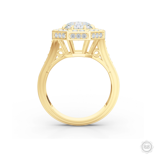 Decadent Octagonal Halo Engagement Ring. Crafted in Classic Yellow Gold.  GIA certified Round Brilliant Diamond. Luxurious appeal with bold modern look. Free Shipping USA. 30-Day Returns | BASHERT JEWELRY | Boca Raton, Florida.
