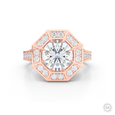 Decadent Octagonal Halo Engagement Ring. Crafted in Romantic Rose Gold.  GIA certified Round Brilliant Diamond. Luxurious appeal with bold modern look. Free Shipping USA. 30-Day Returns | BASHERT JEWELRY | Boca Raton, Florida.