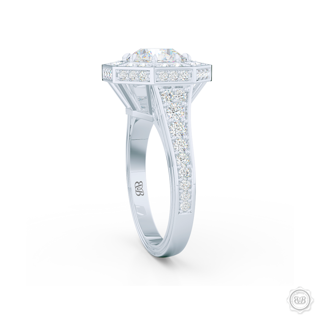 Decadent Octagonal Halo Engagement Ring. Crafted in White Gold or Platinum.  GIA certified Round Brilliant Diamond. Luxurious appeal with bold modern look. Free Shipping USA. 30-Day Returns | BASHERT JEWELRY | Boca Raton, Florida.