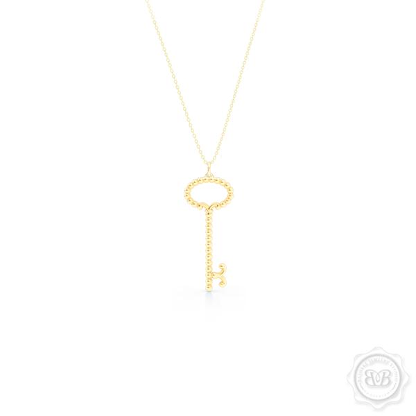 Delicate, Girly Key Pendant Necklace. Handcrafted in Classic Yellow Gold. Available in three sizes. Free Shipping USA. 30 Day Returns. Free Silver Chain Option  | BASHERT JEWELRY | Boca Raton, Florida