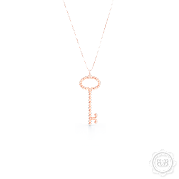 Delicate, Girly Key Pendant Necklace. Handcrafted in Romantic Rose Gold. Available in three sizes. Free Shipping USA. 30 Day Returns. Free Silver Chain Option  | BASHERT JEWELRY | Boca Raton, Florida