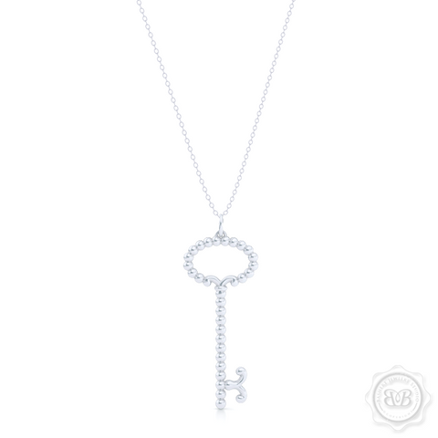 Delicate, Girly Key Pendant Necklace. Handcrafted in Sterling Silver or White Gold. Available in three sizes. Free Shipping USA. 30 Day Returns. Free Silver Chain Option  | BASHERT JEWELRY | Boca Raton, Florida