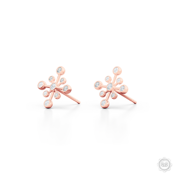 Delicate Snowflake Earring Studs. Handcrafted in Romantic Rose Gold and White Round Brilliant Diamonds. Free Shipping on All USA Orders. 30-Day Returns | BASHERT JEWELRY | Boca Raton, Florida