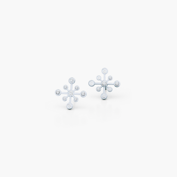Delicate Snowflake Earring Studs. Handcrafted in White Gold and White Round Brilliant Diamonds. Free Shipping on All USA Orders. 30-Day Returns | BASHERT JEWELRY | Boca Raton, Florida