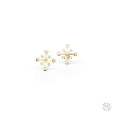 Delicate Snowflake Earring Studs. Handcrafted in Classic Yellow Gold and White Round Brilliant Diamonds. Free Shipping on All USA Orders. 30-Day Returns | BASHERT JEWELRY | Boca Raton, Florida