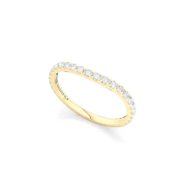 Classic French Pavé, Diamond Wedding Band. Whisper-thin, wave design, hand-fabricated in Classic Yellow Gold. Free Shipping for all USA Orders. 15-Day Returns | BASHERT JEWELRY | Boca Raton, Florida