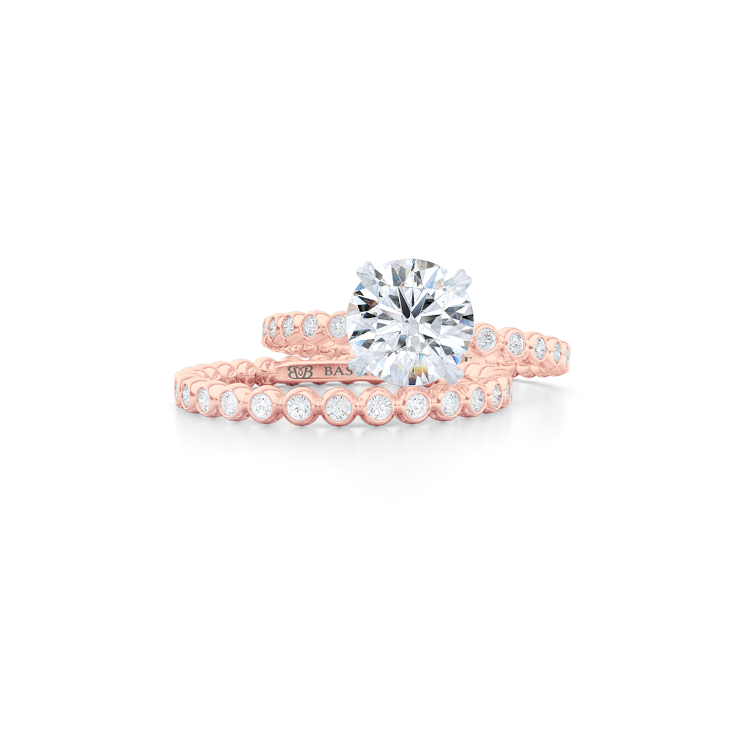 Delicate, bezel-set pots diamond eternity wedding band. Hand-fabricated in solid, sustainable Rose Gold and premium quality Round, Brilliant Diamonds. Free Shipping for All USA Orders. 15-Day Returns | BASHERT JEWELRY | Boca Raton, Florida