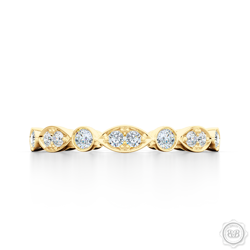 A Delicate, Eternity Diamond Wedding Ring, Handcrafted In Classic Yellow  Gold. A Brilliant