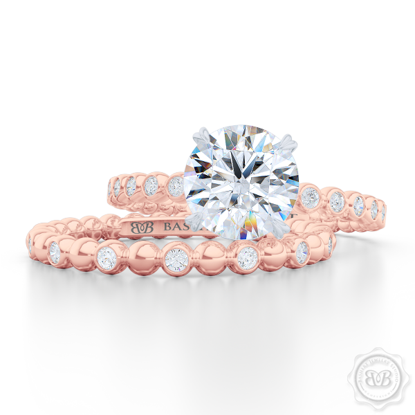 Delicate Polka Dot Diamond Band. Playful Design Handcrafted in Romantic Rose Gold and Round Brilliant Diamonds. Matching Solitaire Engagement Ring Set. Free Shipping for All USA Orders. 30 Day Returns. | BASHERT JEWELRY | Boca Raton Florida