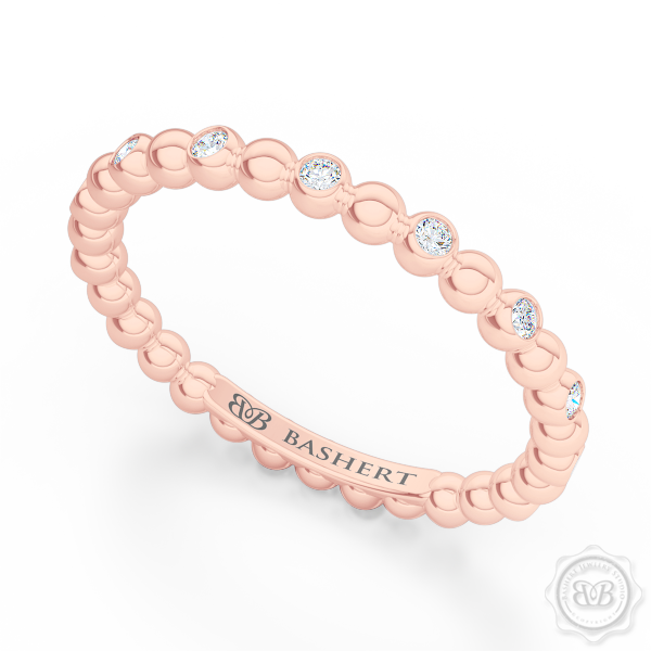Delicate Polka Dot Diamond Band. Playful Design Handcrafted in Romantic Rose Gold and Round Brilliant Diamonds. Free Shipping for All USA Orders. 30Day Returns | BASHERT JEWELRY | Boca Raton Florida