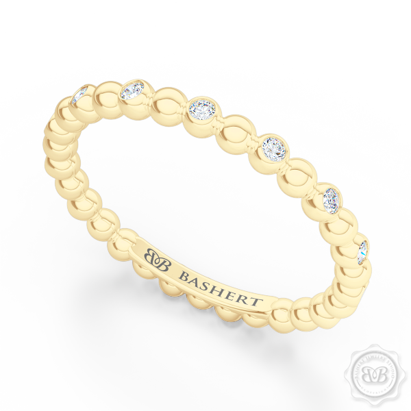 Delicate Polka Dot Diamond Band. Playful Design Handcrafted in Classic Yellow Gold and Round Brilliant Diamonds. Free Shipping for All USA Orders. 30Day Returns | BASHERT JEWELRY | Boca Raton Florida