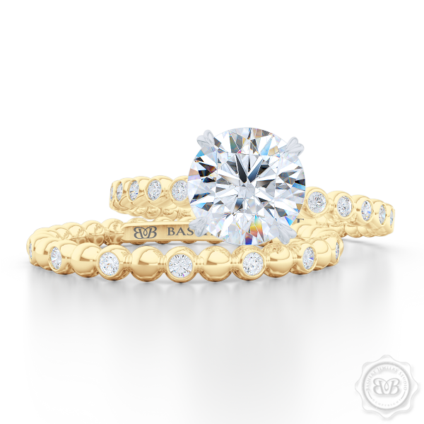 Delicate Polka Dot Diamond Band. Playful Design Handcrafted in Classic Yellow Gold and Round Brilliant Diamonds. Matching Solitaire Engagement Ring Set. Free Shipping for All USA Orders. 30 Day Returns. | BASHERT JEWELRY | Boca Raton Florida