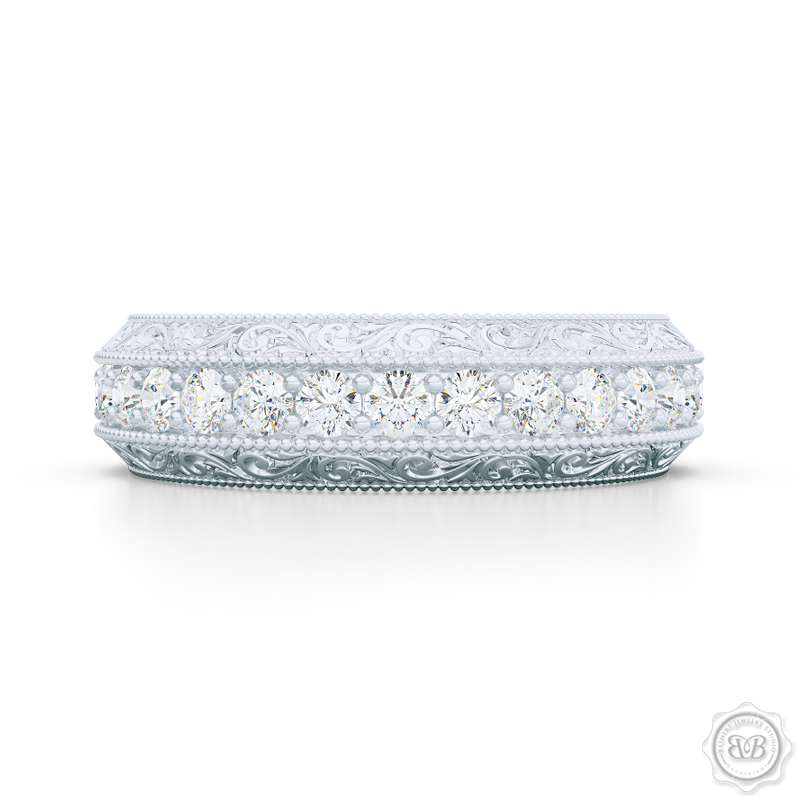 Nature Inspired, Diamond Eternity Wedding Ring With A Hand Carved Rose Vine  Motifs.