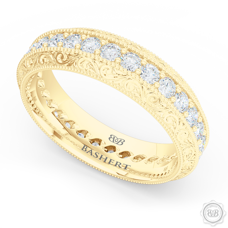 Nature inspired, Diamond Eternity Wedding Ring with a hand carved rose-vine motifs. Crafted in Classic Yellow Gold.  Free Shipping for All USA Orders. 30-Day Returns | BASHERT JEWELRY | Boca Raton, Florida