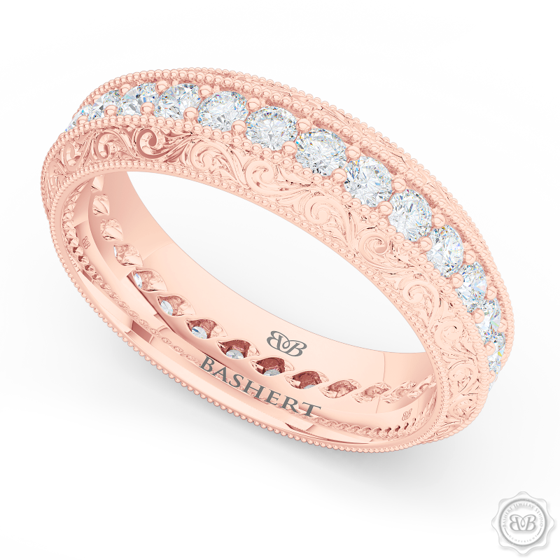 Nature inspired, Diamond Eternity Wedding Ring with a hand carved rose-vine motifs. Crafted in Romantic Rose Gold.  Free Shipping for All USA Orders. 30-Day Returns | BASHERT JEWELRY | Boca Raton, Florida