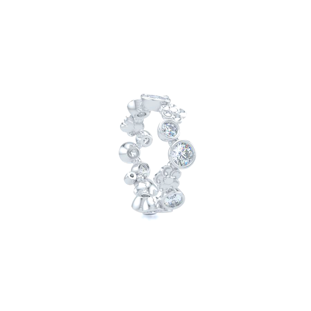 Unique Floral Fashion Band Handcrafted in Bright White Gold or Platinum. Round and Oval Brilliant Diamonds, alternating in a playful design. Customize this design with Birthstone Gems of Your Choice. Free Shipping USA. 15 Day Returns. BASHERT JEWELRY | Boca Raton, Florida