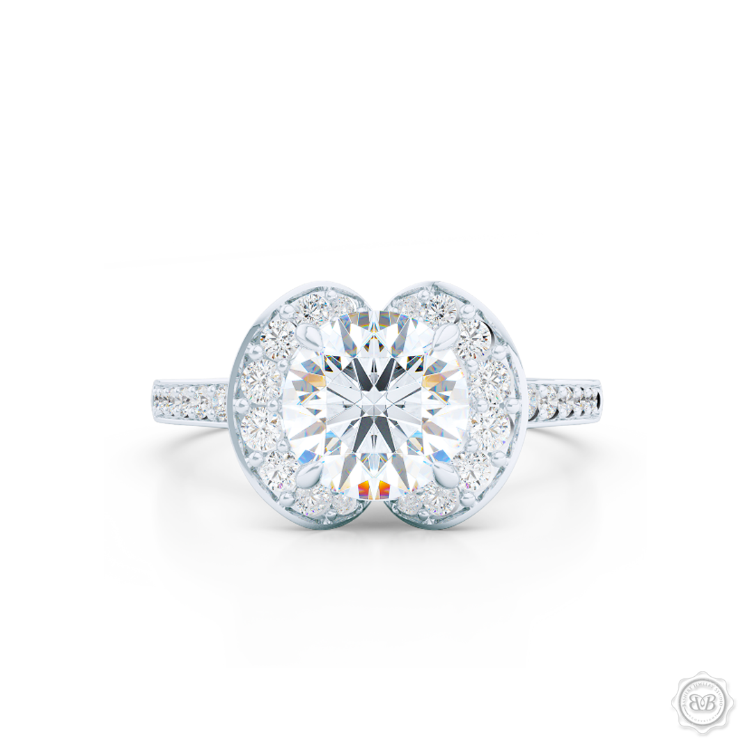 Elegant Round Diamond Halo Engagement Ring Inspired by Paris Architecture. Handcrafted in White Gold or Platinum. Dazzling Bead-Set Crown and Baby-Split Diamond Shoulders. GIA Certified Diamond. Free Shipping USA 30-Day Returns | BASHERT JEWELRY | Boca Raton, Florida