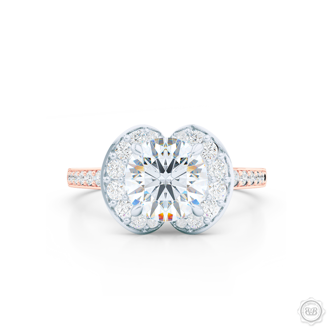 Elegant Round Diamond Halo Engagement Ring Inspired by Paris Architecture. Handcrafted in two-tone Rose Gold and Platinum. Dazzling Bead-Set Crown and Baby-Split Diamond Shoulders. GIA Certified Diamond. Free Shipping USA 30-Day Returns | BASHERT JEWELRY | Boca Raton, Florida
