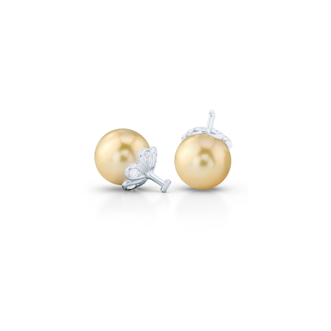 Elegant Pearl dangle earrings. Diamond iced, knife-edge hoops, hand-fabricated in sustainable, solid White Gold, or Platinum. Genuine South Sea Golden Pearl dangle bottoms. One Hoop – Many Possibilities. Free Shipping on All USA Orders. 15-Day Returns | BASHERT JEWELRY | Boca Raton, Florida