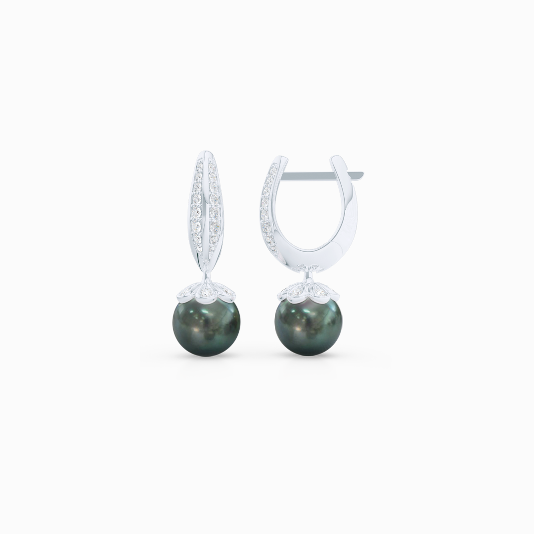 Elegant Pearl dangle earrings. Diamond iced, knife-edge hoops, hand-fabricated in sustainable, solid White Gold, or Platinum. Genuine Sea-Green Fiji Pearl dangle bottoms. One Hoop – Many Possibilities. Free Shipping on All USA Orders. 15-Day Returns | BASHERT JEWELRY | Boca Raton, Florida