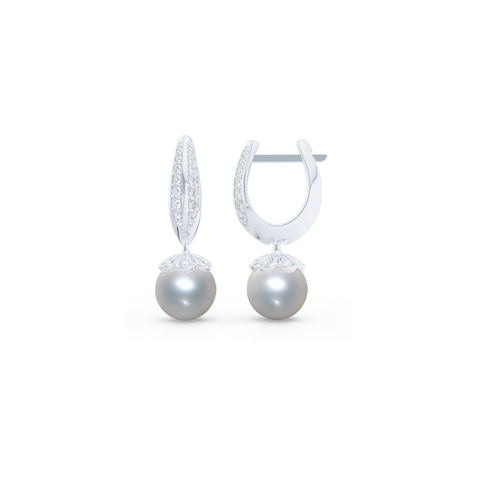 Elegant Pearl dangle earrings. Diamond iced, knife-edge hoops, hand-fabricated in sustainable, solid White Gold, or Platinum. Genuine White Akoya Pearl or South Sea White Pearl dangle bottoms. One Hoop – Many Possibilities. Free Shipping on All USA Orders. 15-Day Returns | BASHERT JEWELRY | Boca Raton, Florida