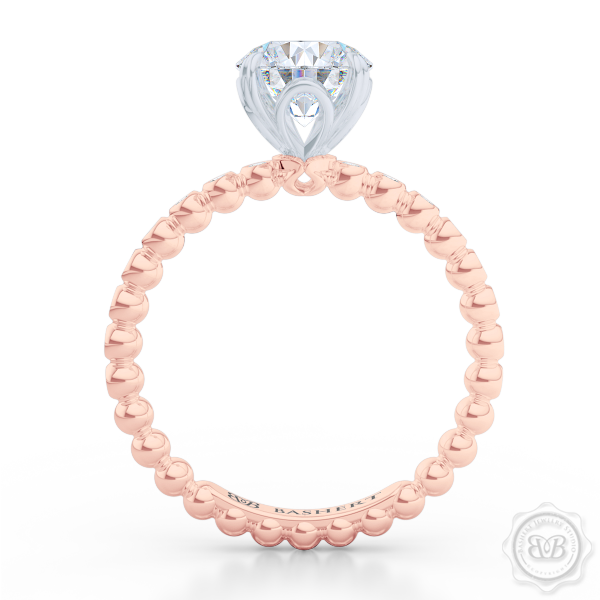 Two-tone gold, Classic Four-Prong, Round Solitaire Engagement Ring. Handcrafted in Rose Gold and Platinum crown. Dazzling Bezel-Set Caviar Ring Shoulders. GIA Certified Diamond.  Free Shipping USA 30-Day Returns | BASHERT JEWELRY | Boca Raton, Florida