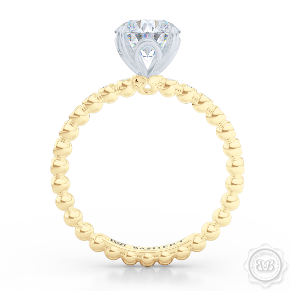 Classic Four-Prong Round Solitaire Engagement Ring Crafted in two-tone Yellow Gold and Platinum. Dazzling Bezel-Set Ring Shoulders. Charles & Colvard Forever One Brilliant Moissanite.  Free Shipping USA 30-Day Returns | BASHERT JEWELRY | Boca Raton, Florida