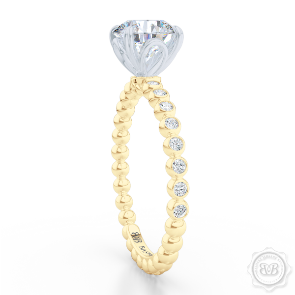 Classic Four-Prong Round Solitaire Engagement Ring Crafted in Classic Yellow Gold or Platinum. Dazzling Bezel-Set Ring Shoulders. Find GIA Certified Diamond Tailored to Your Budget. This Design Offers a Matching Polka Dot Wedding Band For Her. Free Shipping USA 30Day Returns | BASHERT JEWELRY | Boca Raton Florida