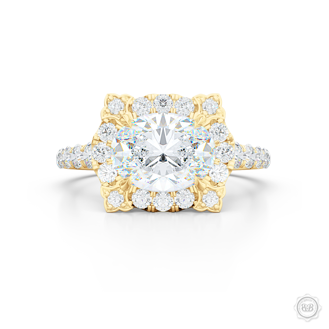 East-West Oval Diamond Halo Engagement Ring. Handcrafted in Classic Yellow Gold. GIA Certified Oval Diamond. Vintage-inspired lines with a unique flower prong accents. Free Shipping USA. 30-Day Returns | BASHERT JEWELRY | Boca Raton, Florida