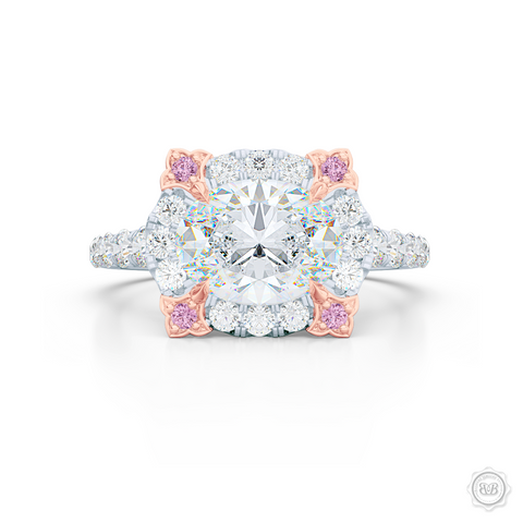 East-West Oval Diamond Halo Engagement Ring. Handcrafted in Precious Platinum or White Gold. GIA Certified Oval Diamond. Vintage-inspired lines with a unique flower prong accents, adorned with Fancy Pink Diamonds. Free Shipping USA. 30-Day Returns | BASHERT JEWELRY | Boca Raton, Florida